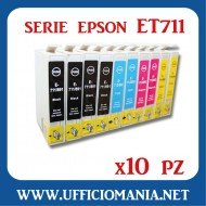 10 cartucce compatibili EPSON serie ET711 - 4x Nero / 2x Ciano / 2 Magenta - 2x Giallo
